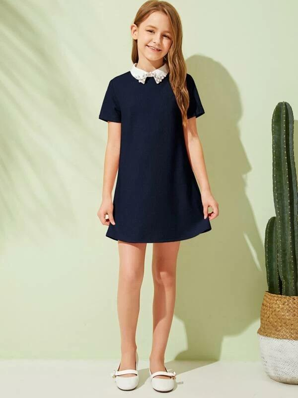 Girls Pearl Beaded Contrast Collar Dress
