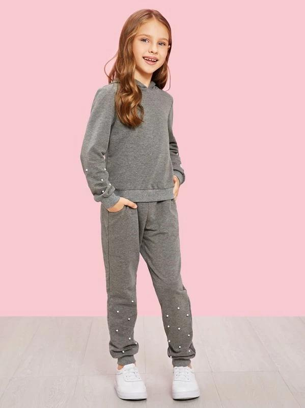 Girls Pearl Beading Hoodie Top & Pants Set