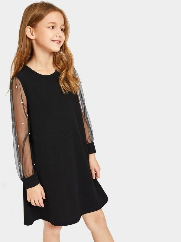 Girls Pearl Beading Mesh Sleeve Swing Dress