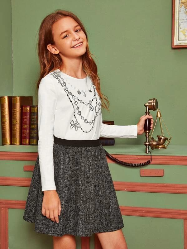 Girls Pearls Beaded Chain Print Top & Tweed Skirt Set