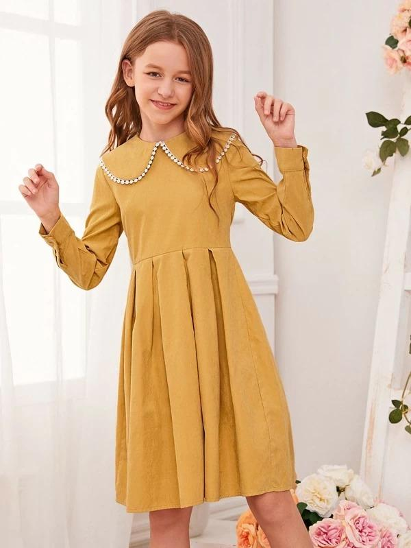 Girls Peter Pan Collar Boxy Pleated Dress