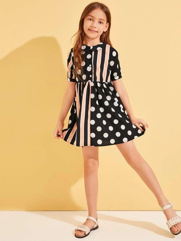 Girls Peter Pan Collar Cut-And-Sew Striped And Polka-Dot Dress