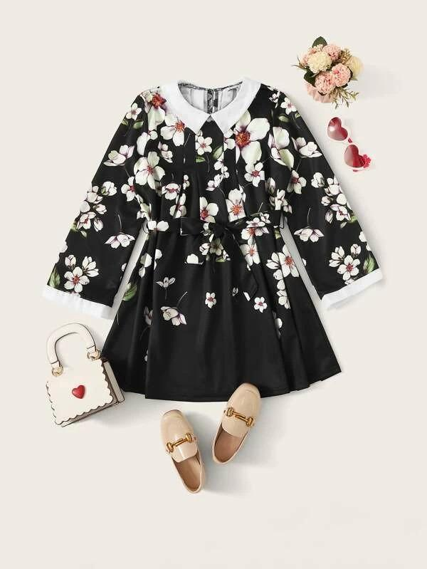Girls Peter Pan Collar Floral Print Belted Dress
