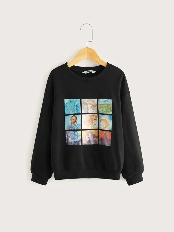 Girls Picture Print Pullover