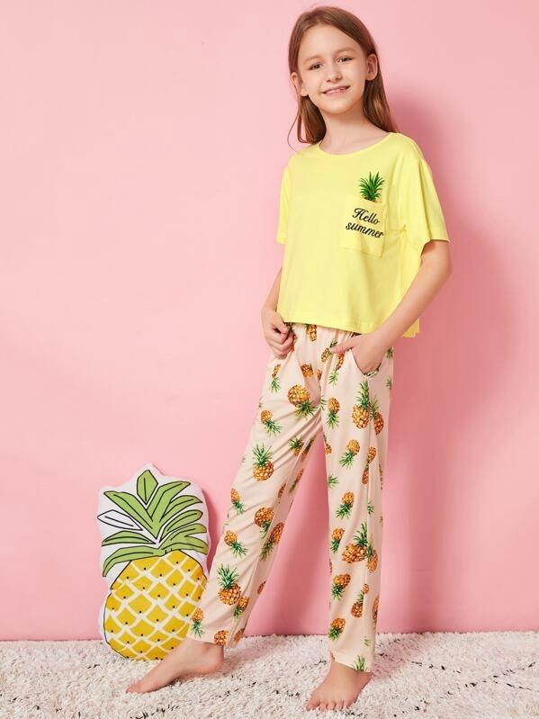 Girls Pineapple Print Pajama Set