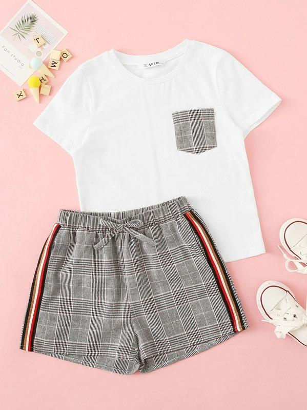 Girls Plaid Pocket Top & Side Striped Shorts Set
