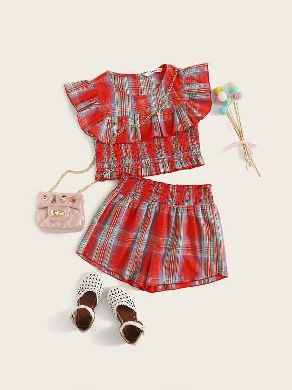 Girls Plaid Ruffle Trim Shirred Panel Top And Shorts Set