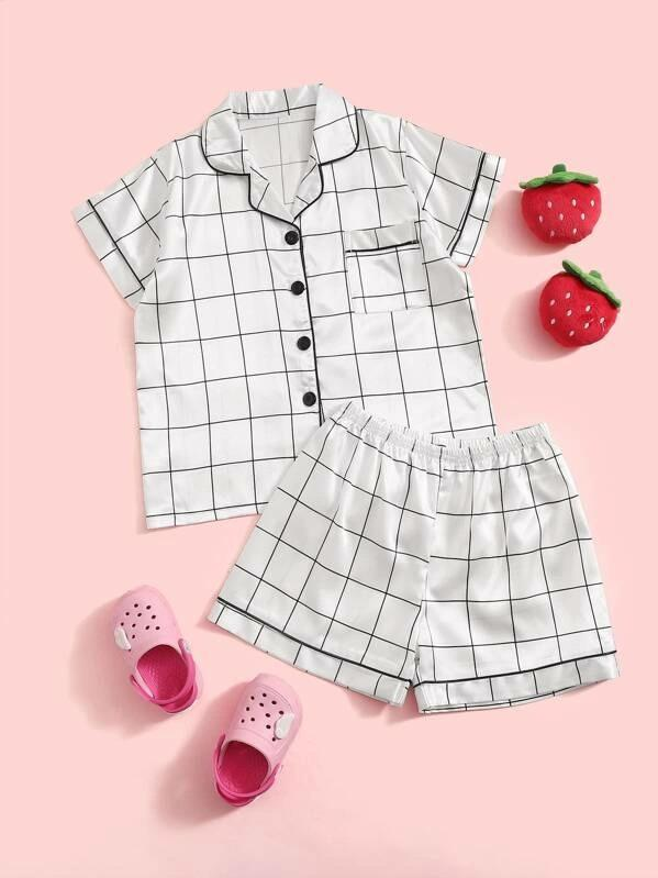 Girls Plaid Satin Shirt With Shorts PJ Set