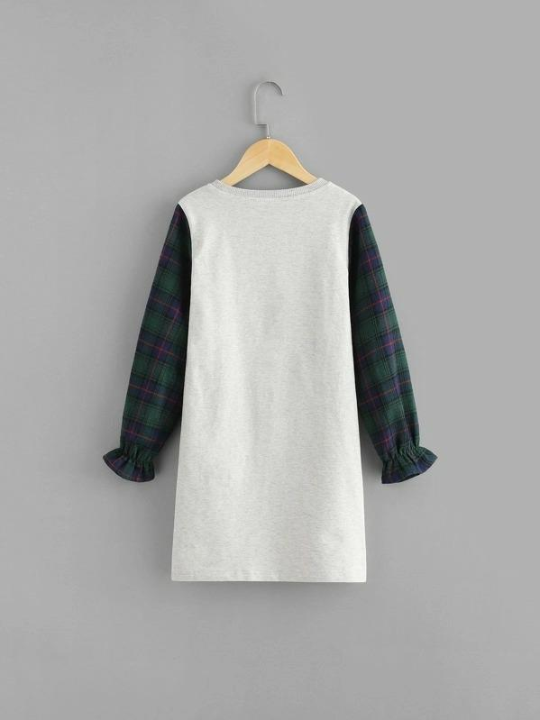 Girls Plaid Sleeve Mixed Media Tee Dress