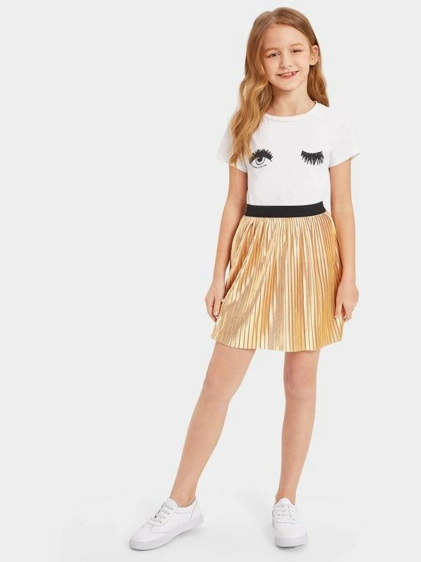 Girls Pleated Metallic Skirt