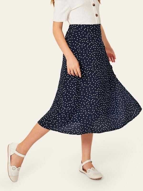 Girls Polka Dot Button Up Split Side Skirt