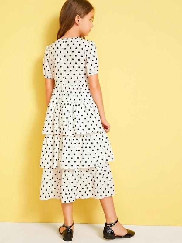 Girls Polka Dot Layered Hem Dress