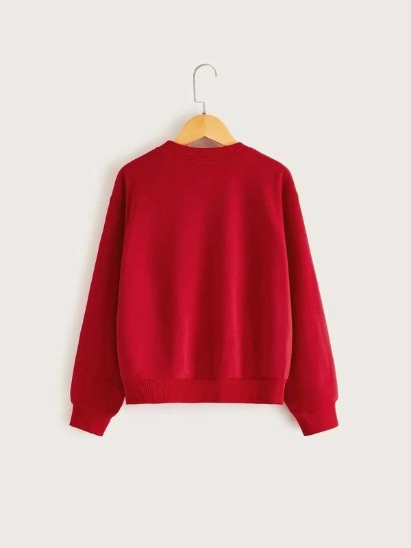 Girls Pompom Detail Graphic Pullover