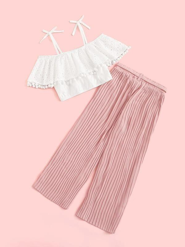 Girls Pompom Detail Schiffy Top And Pleated Pants Set
