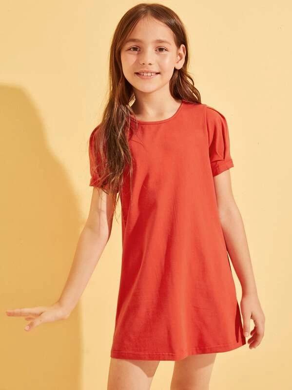 Girls Puff Sleeve Tunic Dress