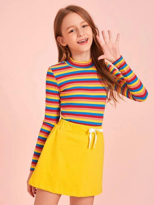 Girls Rainbow Striped Rib-Knit Fitted Tee