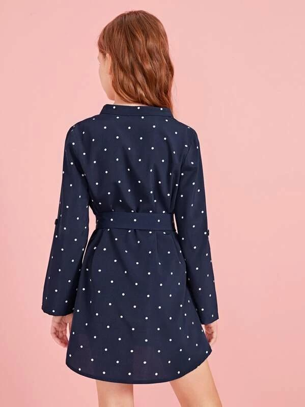 Girls Roll Up Sleeve Self Belted Polka-Dot Dress