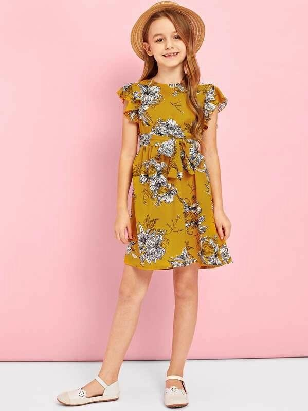 Girls Ruffle Armhole Belted Floral Dress