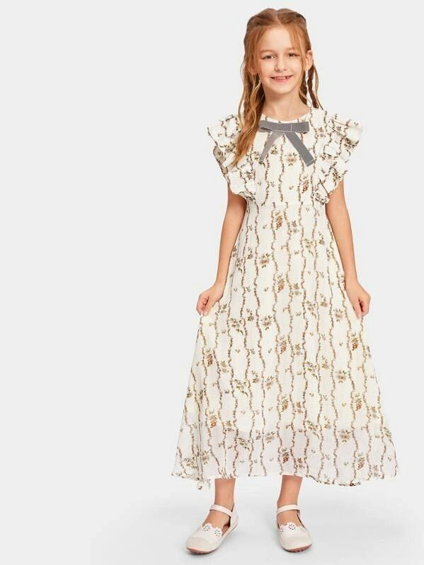 Girls Ruffle Armhole Floral Print Maxi Dress