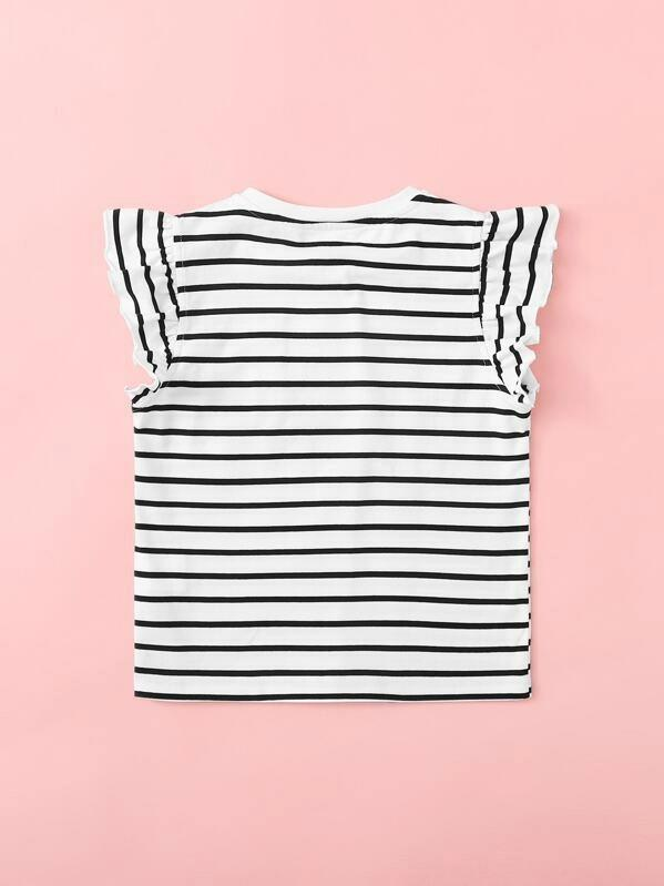 Girls Ruffle Armhole Striped Top