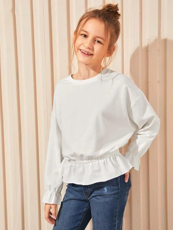 Girls Ruffle Cuff And Hem Solid Pullover