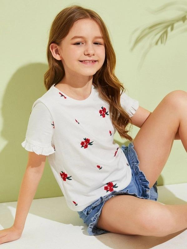 Girls Ruffle Cuff Embroidery Floral Top
