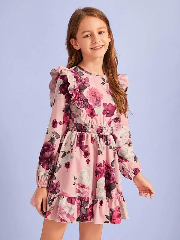 Girls Ruffle Detail Shirred Waist Floral Print Dress