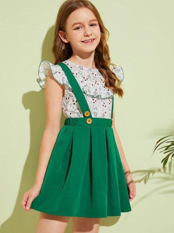 Girls Ruffle Ditsy Floral Top & Pleated Pinafore Skirt Set