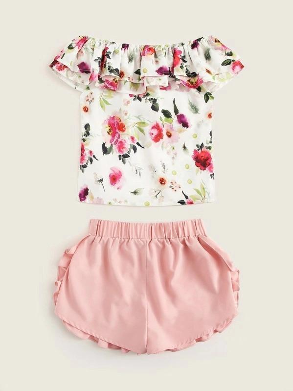 Girls Ruffle Floral Top & Pearls Beaded Shorts Set