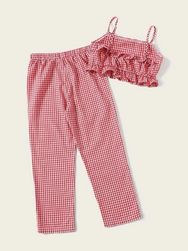 Girls Ruffle Gingham Cami Top And Pants Set