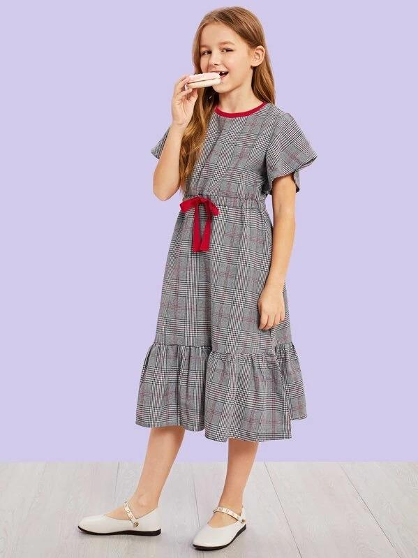 Girls Ruffle Hem Drawstring Waist Dress
