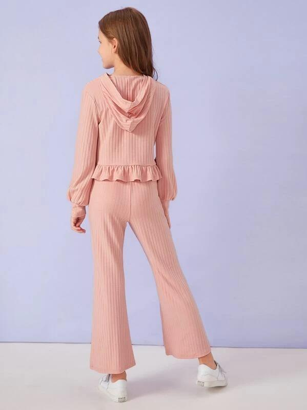 Girls Ruffle Hem Rib-Knit Pullover & Pants Set