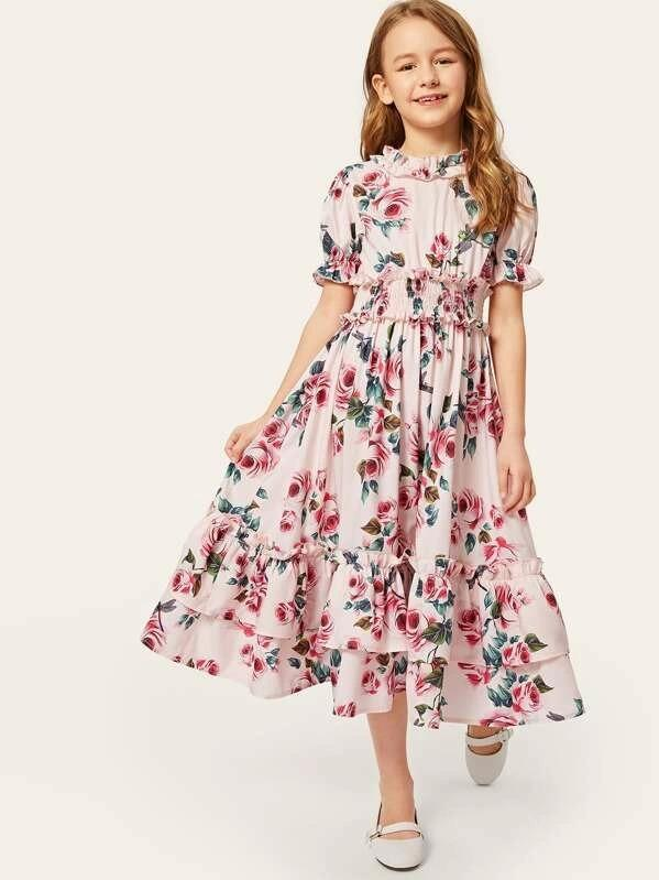 Girls Ruffle Layered Shirred Waist Floral Dress