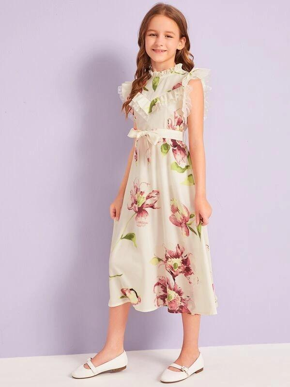 Girls Ruffle Mesh Trim Floral Print Belted Dress
