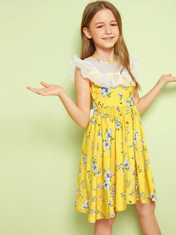 Girls Ruffle Mesh Yoke Tie Back Floral Dress