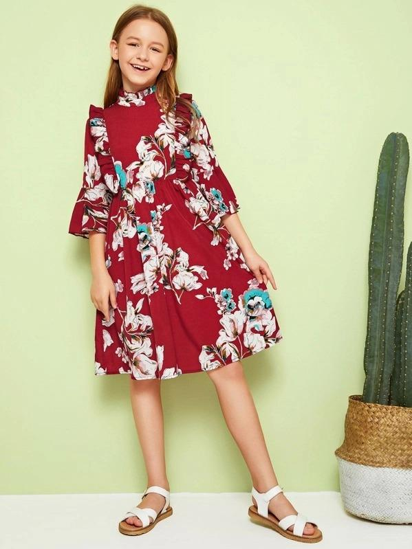 Girls Ruffle Mock-Neck Flounce Sleeve Floral Print Dress