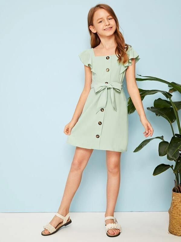 Girls Ruffle Sleeve Button Up Belted Dress