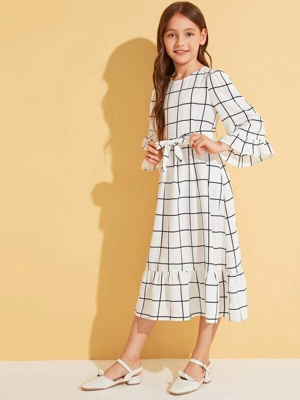 Girls Ruffle Trim Belted Grid Print Dress