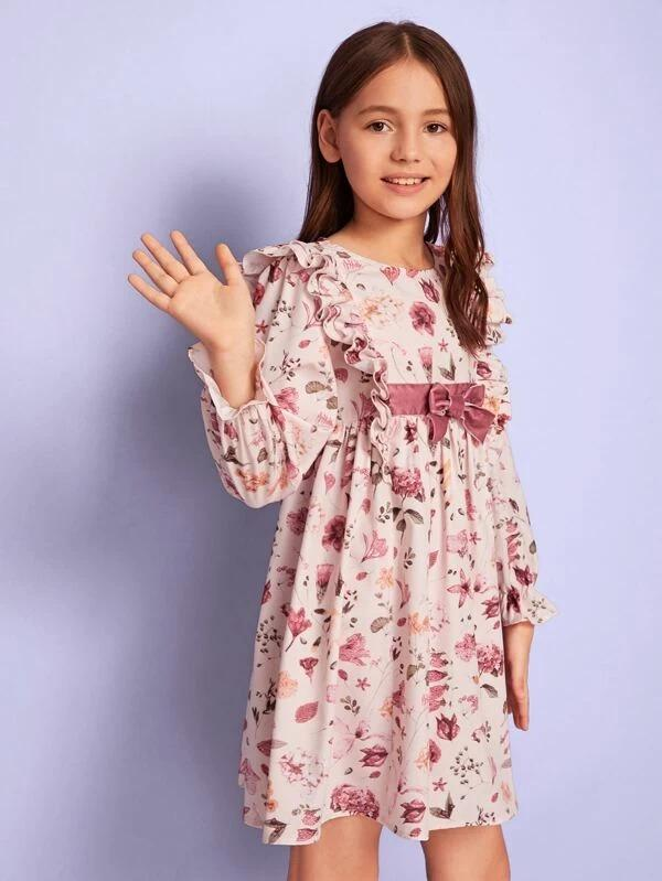 Girls Ruffle Trim Bow Front Floral Print Smock Dress