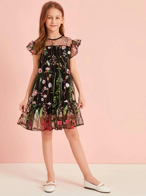 Girls Ruffle Trim Embroidered Mesh Overlay Dress