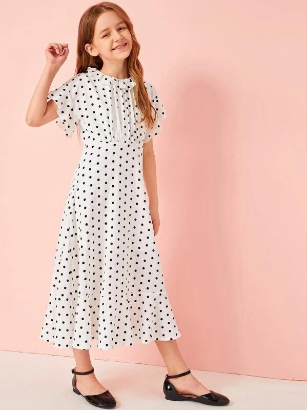 Girls Ruffle Trim Pleated Front Dot Print Flare Dress