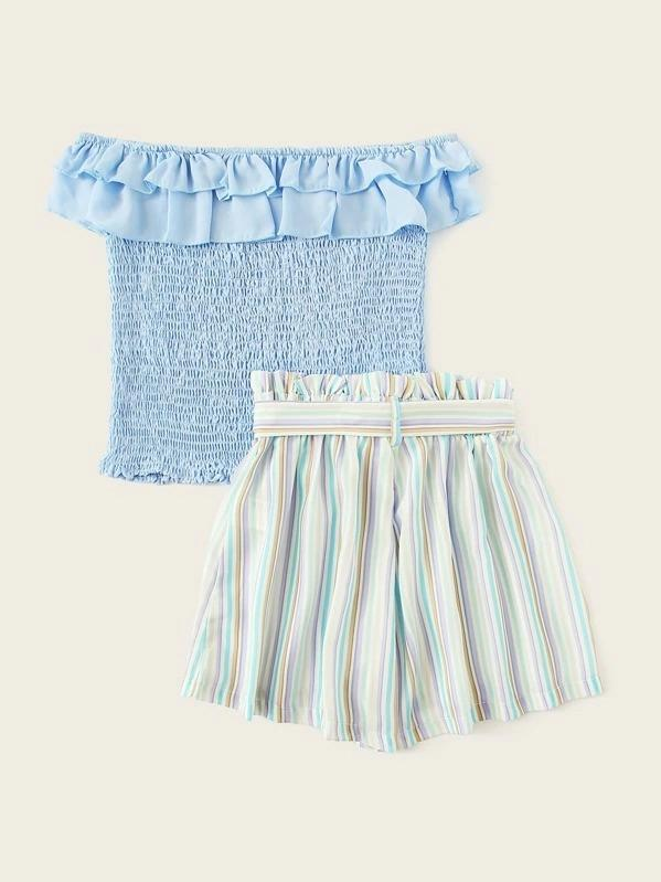 Girls Ruffle Trim Shirred Top & Belted Striped Shorts Set