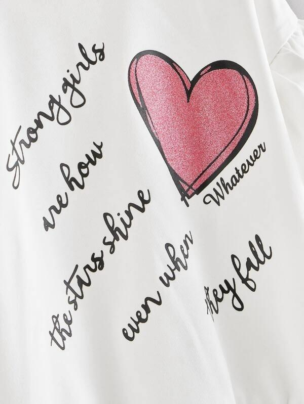 Girls Ruffle Trim Slogan Graphic Pullover