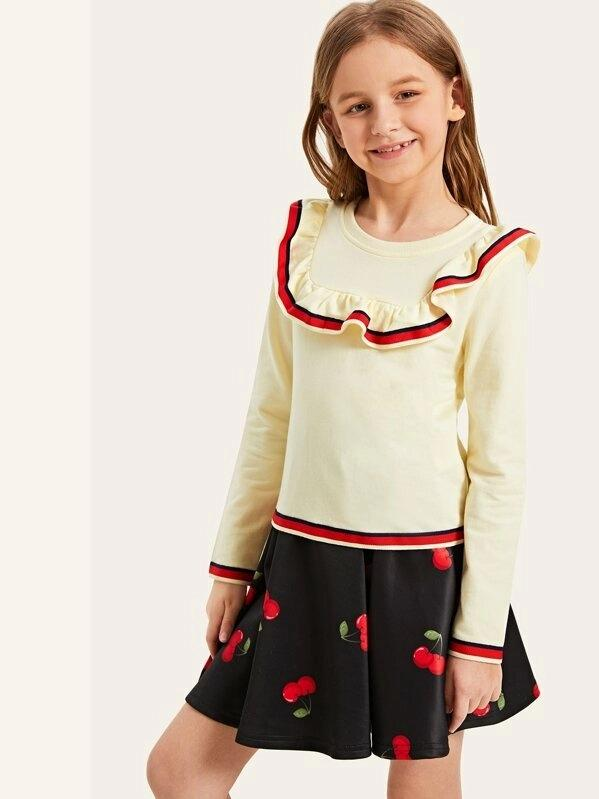 Girls Ruffle Trim Tee & Cherry Skirt Set