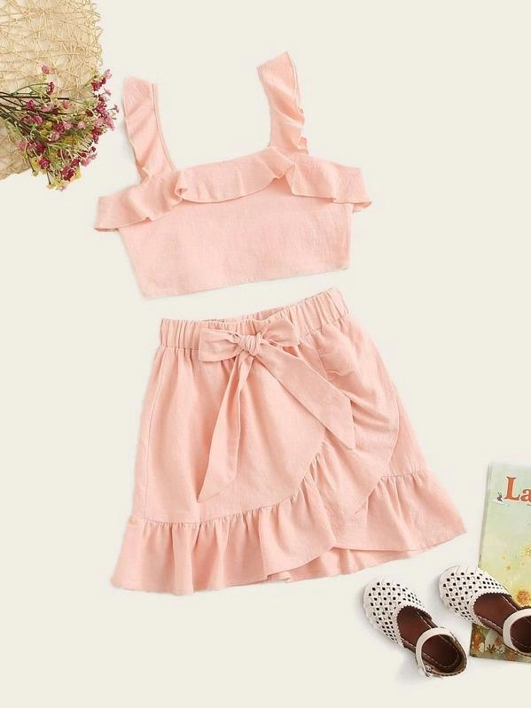 Girls Ruffle Trim Top & Wrap Skirt Set