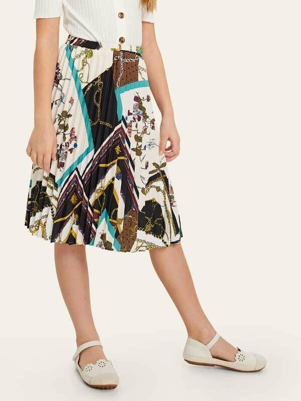 Girls Scarf Print Pleated Flare Skirt