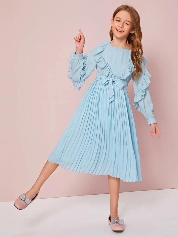 Girls Self Belted Ruffle Trim Pleated Dress