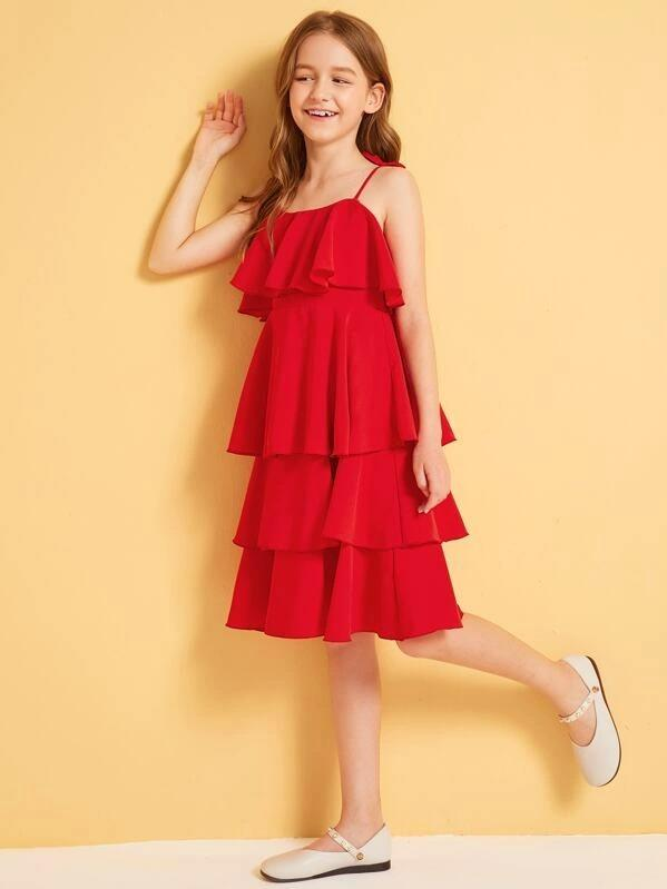 Girls Self Tie Shoulder Layered Ruffle Trim Dress