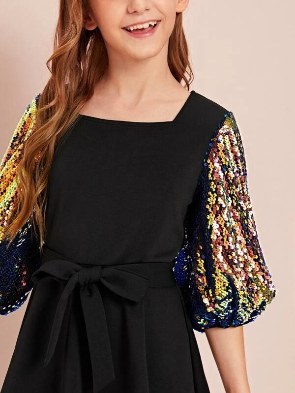 Girls Sequin Balloon Sleeve Self Belted Dress