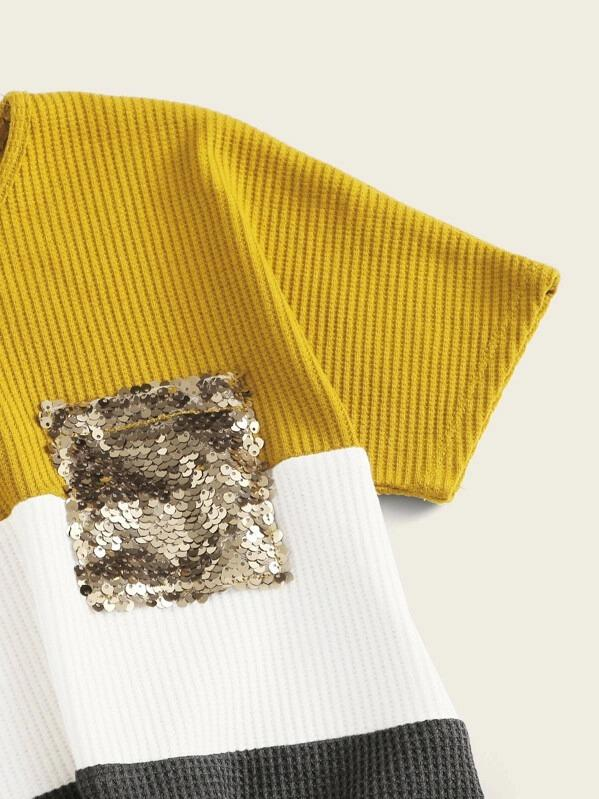 Girls Sequin Detail Tie Hem Waffle Knit Top